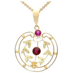 Antique 1920s Garnet and Amethyst Yellow Gold Pendant