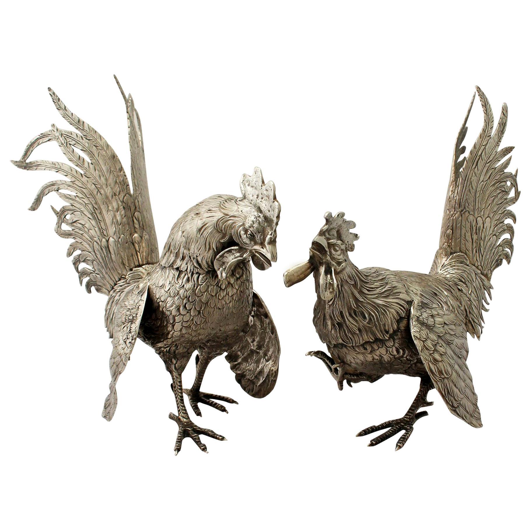 Antique 1920s German Silver Fighting Cockerel Ornaments