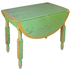 Antique 1920s Hand Painted Drop-Leaf Dining Table