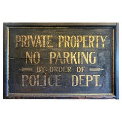 """Antique 1920's Hand Painted Gold Leaf and Smalt """" No Parking, Police Sign"""