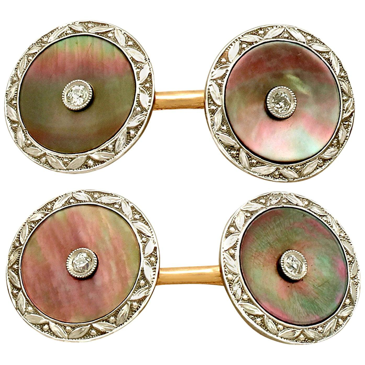 Antique 1920s Mother of Pearl Diamond Yellow Gold Cufflinks