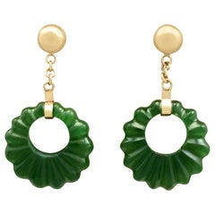 Antique 1920s Nephrite Jade and Yellow Gold Drop Earrings