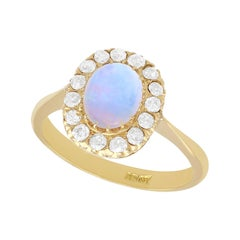 Antique 1920s Opal and Diamond Gold Cluster Ring