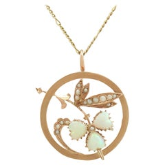 Antique 1920s Opal and Seed Pearl Yellow Gold Pendant