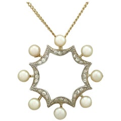 Antique 1920s Pearl and Diamond Yellow Gold Pendant