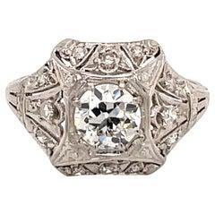 Antique 1920s Platinum Diamond Engagement Ring .74 Carat