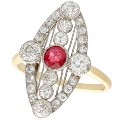 Antique 1920s Ruby and 1.88 Carat Diamond Yellow Gold Marquise Ring