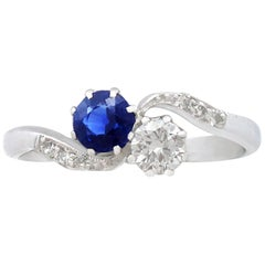 Antique 1920s Sapphire and Diamond White Gold Twist Ring