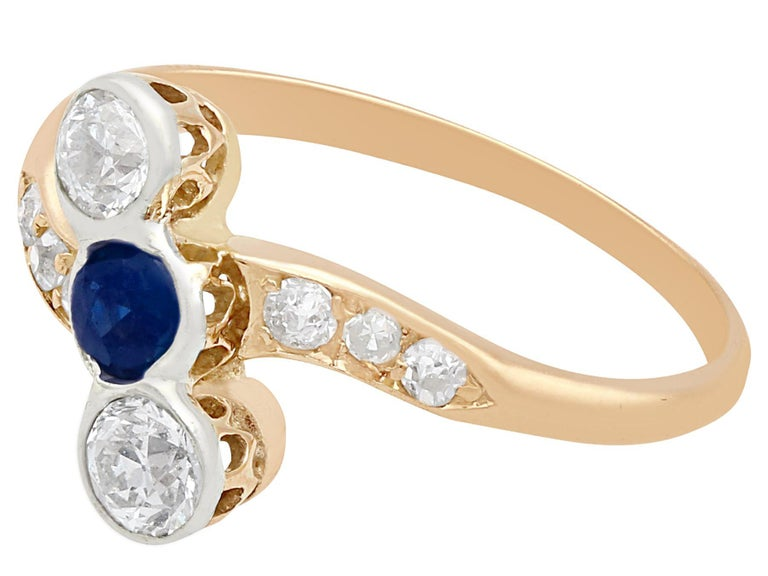Oval Cut Antique 1920s Sapphire and Diamond Yellow Gold Cocktail Ring For Sale