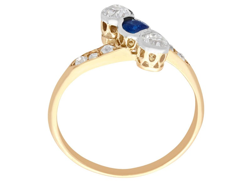 Women's Antique 1920s Sapphire and Diamond Yellow Gold Cocktail Ring For Sale