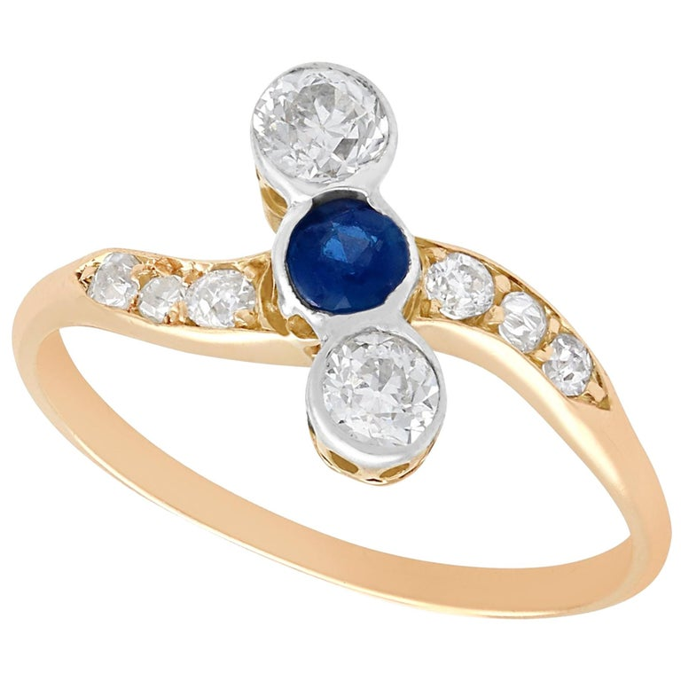 Antique 1920s Sapphire and Diamond Yellow Gold Cocktail Ring For Sale
