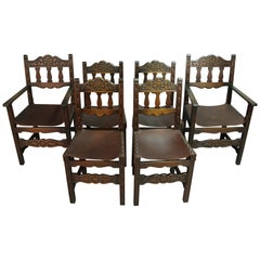 Antique 1920s Set of 6 Spanish Revival Dining Room Chairs with Leather