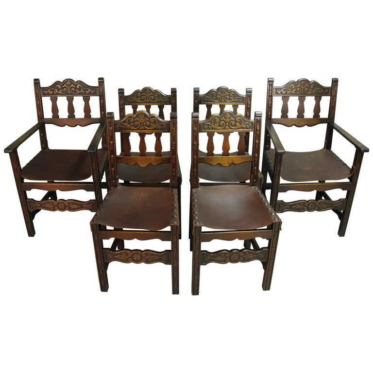 Antique 1920s Set Of 6 Spanish Revival Dining Room Chairs