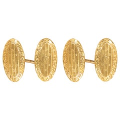 Antique 1920s Yellow Gold Engraved Cufflinks