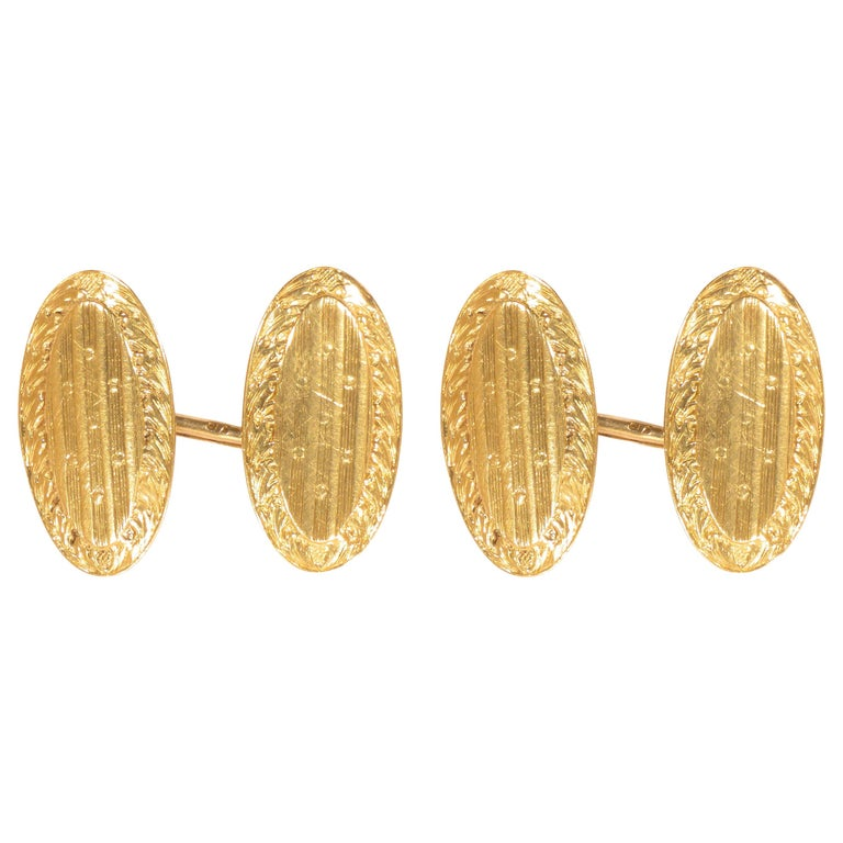 Antique 1920s Yellow Gold Engraved Cufflinks For Sale