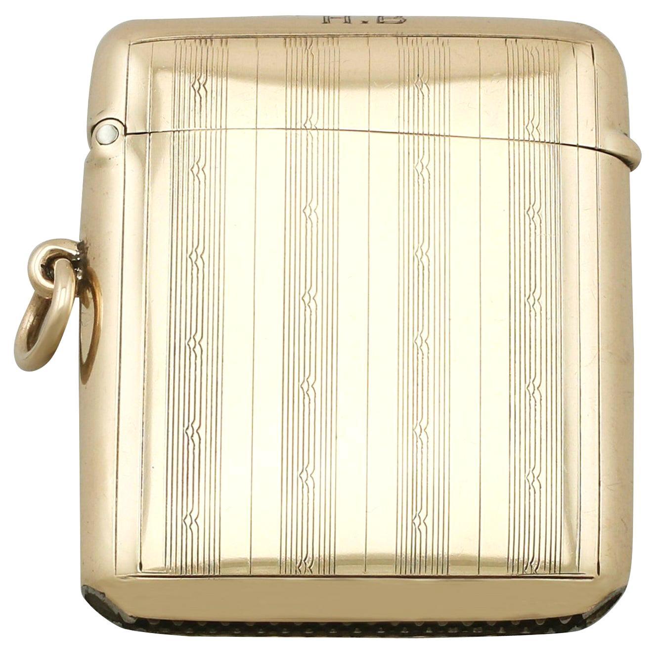 Antique 1920s Yellow Gold Vesta Case