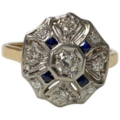 Antique 1930 White Diamond and Blue Sapphire Ring in 14 Karat White Gold