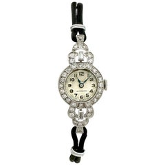 Antique 1930's 1.42 Carat Diamond Platinum Cocktail Watch