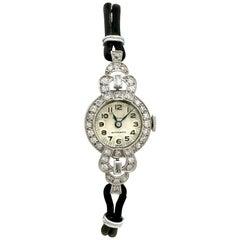 Antique 1930's 1.42 Carat Diamond Platinum Cocktail Watch