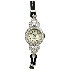 Antique 1930s 1.42 Carat Diamond Platinum Cocktail Watch