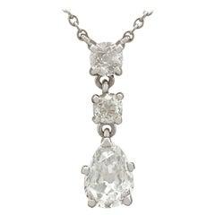 Antique 1930s 1.42 Carat Diamond White Gold Drop Necklace