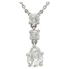 Antique 1930s 1.42 Carat Diamond White Gold Drop Necklace