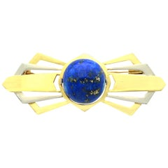 Antique 1930s 14.95 Carat Lapis Lazuli and Yellow Gold Bow Brooch