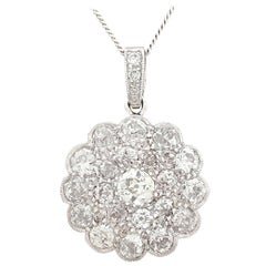 Antique 1930s 2.05 Carat Diamond and White Gold Cluster Pendant