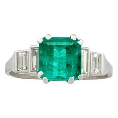 Antique 1930s 2.10 carat Emerald and Diamond White Gold Dress Ring