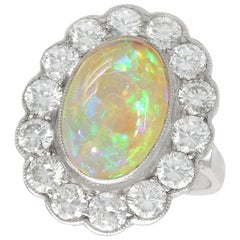 Antique 1930s 2.19 Carat Opal and 2.36 Carat Diamond Platinum Cluster Ring