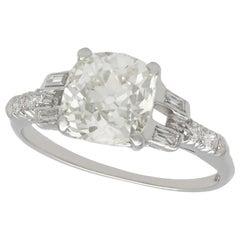 Antique 1930s 2.21 Carat Diamond and Platinum Solitaire Ring