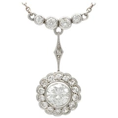Antique 1930s 2.24 Carat Diamond and Yellow Gold Platinum Set Pendant