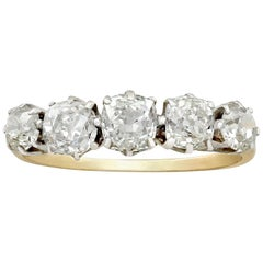 Antik 1930er Jahre 2.47 Karat Diamanten und gelb Goldring fünf Steine