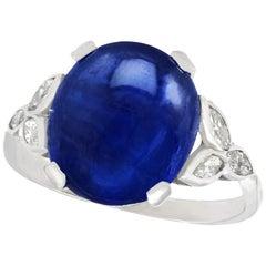 Antique 1930s 6.80 Carat Sapphire and Diamond Platinum Cocktail Ring