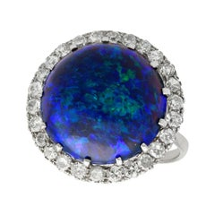 Antique 1930s 7.20Ct Cabochon Cut Black Opal and Diamond Platinum Ring