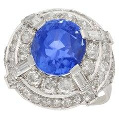 1930s 8.80 Carat Ceylon Sapphire and 2.68 Carat Diamond White Gold Cocktail Ring