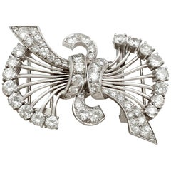 Antique 1930s Art Deco 4.16 Carat Diamond and Platinum Double Clip Brooch
