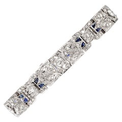 Antique 1930s Art Deco Diamond Sapphire Platinum Bracelet