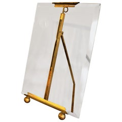 Antique 1930s Art Deco French Brass Beveled Glass Photo Frame Picture Holder