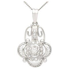 Antique 1930s Belgian Diamond and White Gold Pendant