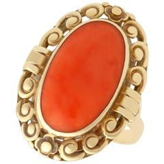 Antique 1930s Coral and Yellow Gold Cocktail Ring