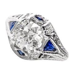 Antique 1930s Deco Old European-Cut Diamond Sapphire Engagement Ring