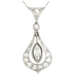 Antique 1930s Diamond and Platinum Pendant
