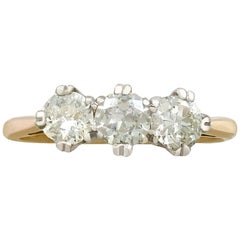 Antique 1930s Diamond and Yellow Gold Trilogy Ring
