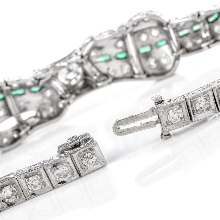 Round Cut Antique 1930s Diamond Emerald Platinum Ribbon and Bow Bracelet For Sale