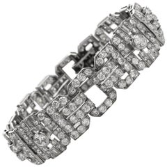 Antique 1930s Diamond Platinum Art Deco Link Bracelet