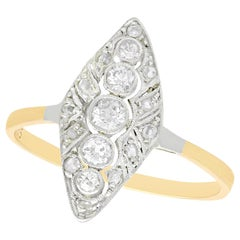 Antique 1930s Diamond Yellow Gold Marquise Ring