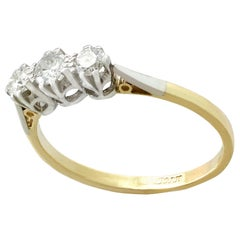 Antique 1930s Diamond Yellow Gold Trilogy Ring