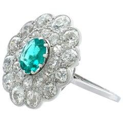 Antique 1930s Emerald and 2.40 Carat Diamond Platinum Cluster Ring