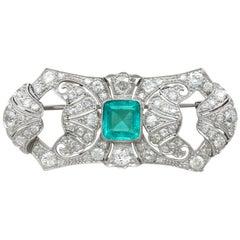 Antique 1930s Emerald Diamond Gold Brooch